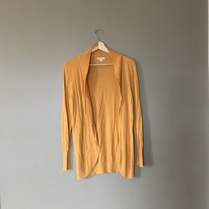 Golden Yellow Open Front Draping Cardigan